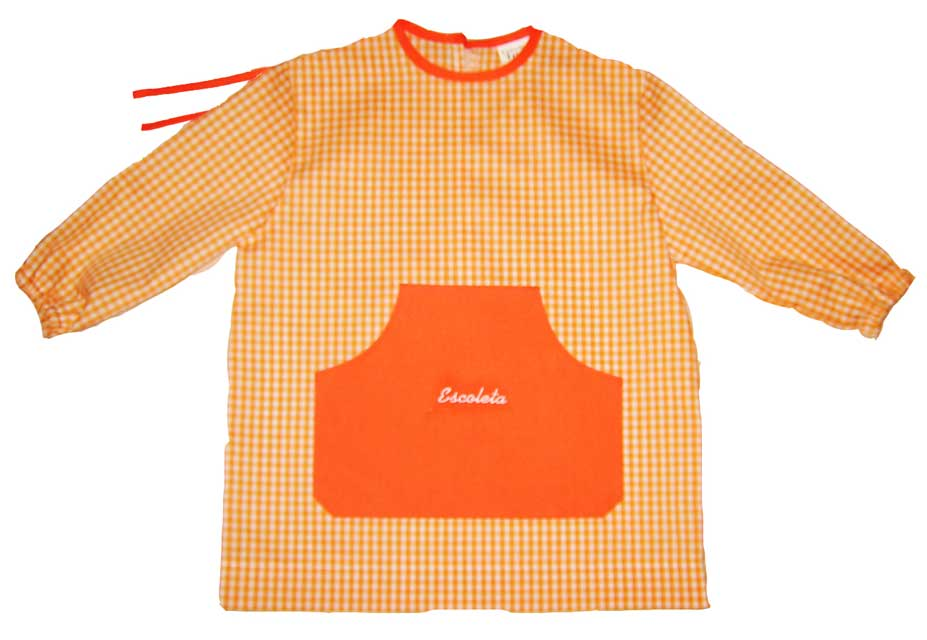 babero guarderia cuadrados naranjas