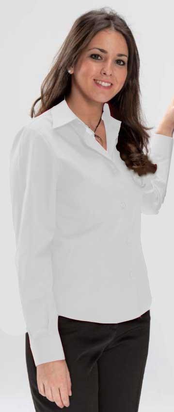 Blusa entallada blanca manga larga