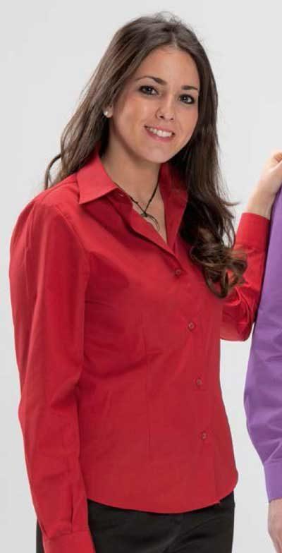 Blusa entallada color manga larga