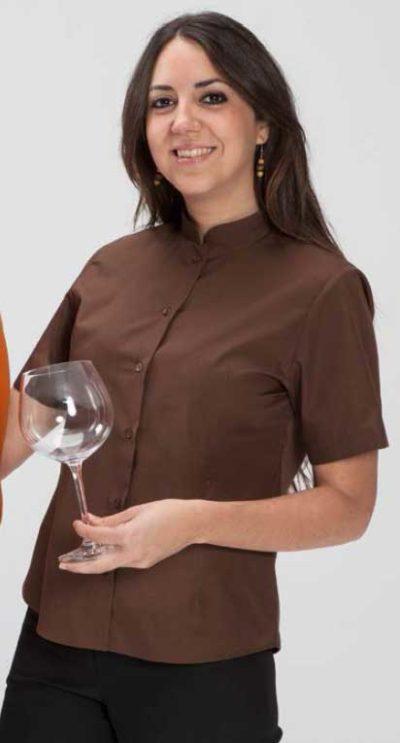 camisa cuello mao color chocolate