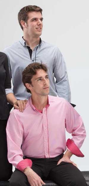 Camisa cuadritos y contraste manga larga