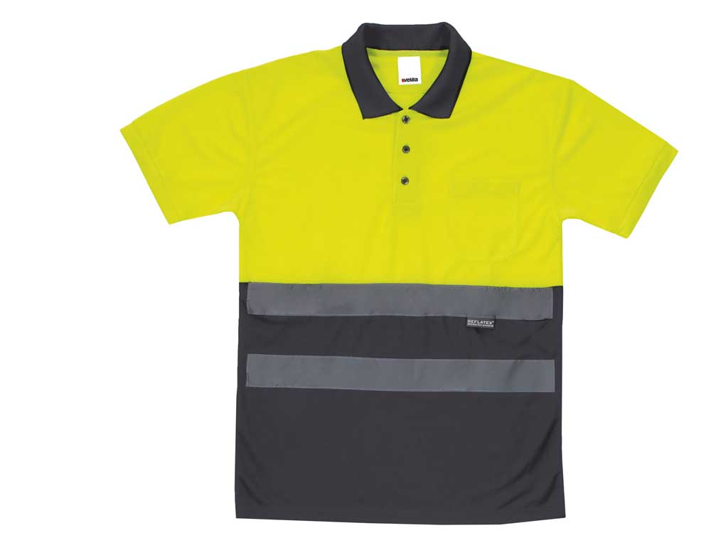 Polo bicolor alta visibilidad manga corta