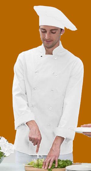 Chaquetilla cocinero blanca manga larga